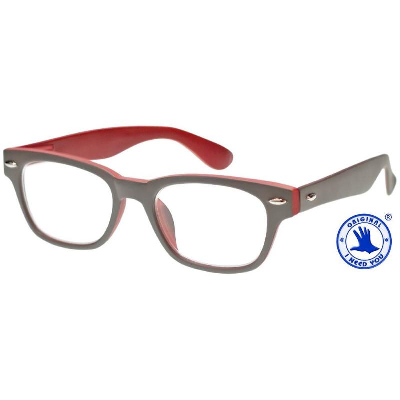 Woody Selection in grau-rot, Stärke +2,00 Dioptrien seitenansicht