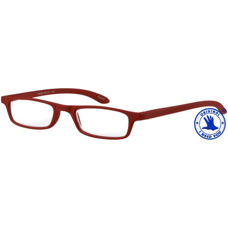 Zipper in rot, Stärke +3,00 Dioptrien seitenansicht