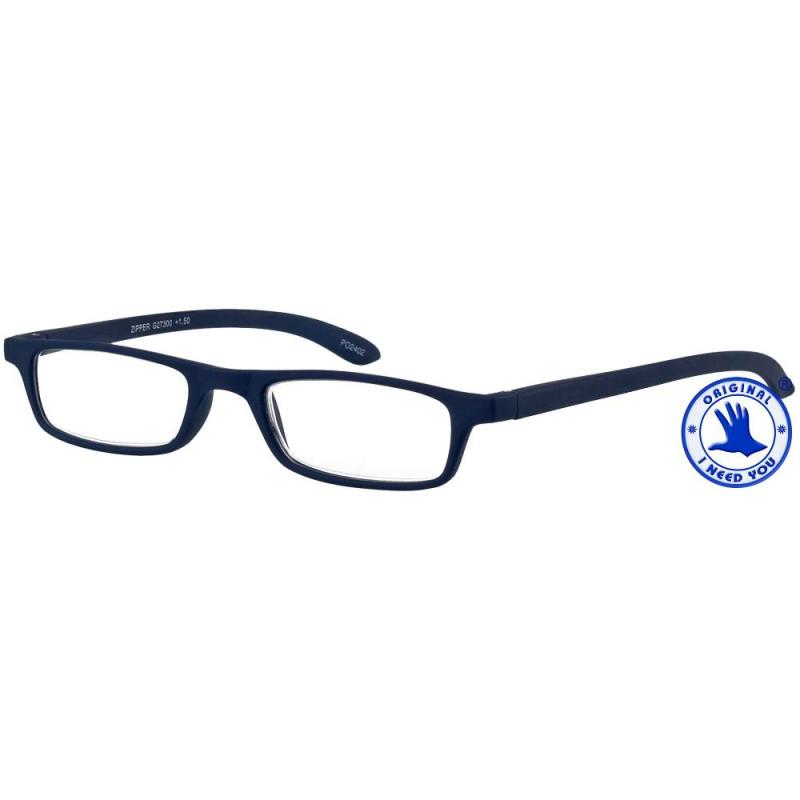 Zipper in blau, Stärke +1,00 Dioptrien seitenansicht