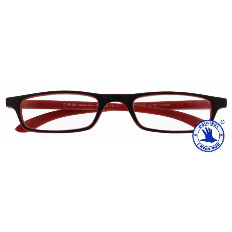 Zipper Selection in 4 verschiedenen Farben, Stärke von +1,00 - 3,00 Dioptrien-schwarz-rot-+ 2,50