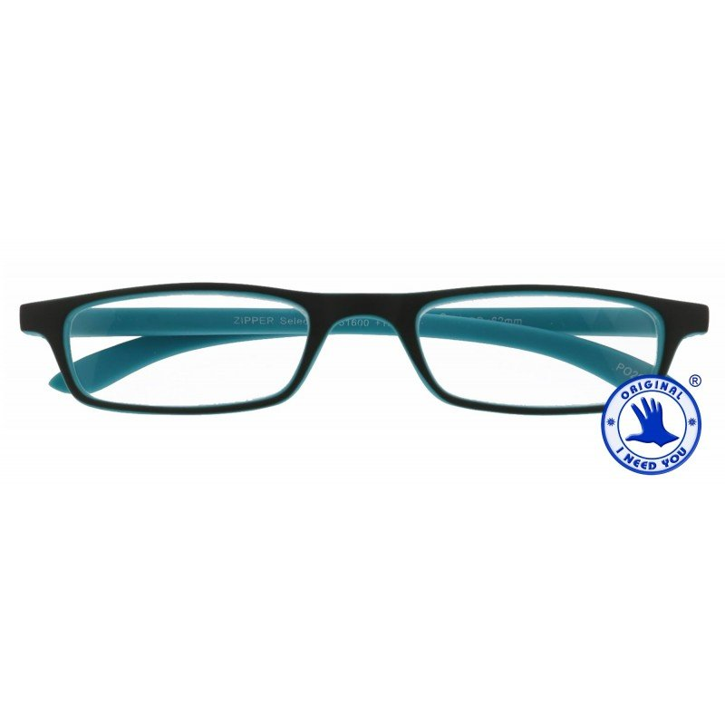 Zipper Selection in 4 verschiedenen Farben, Stärke von +1,00 - 3,00 Dioptrien-grau-türkis-+ 1,50