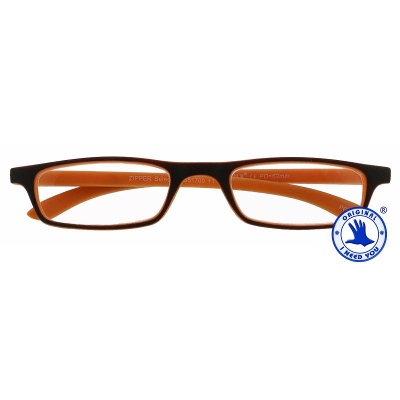Zipper Selection in 4 verschiedenen Farben, Stärke von +1,00 - 3,00 Dioptrien-braun-orange-+ 2,00