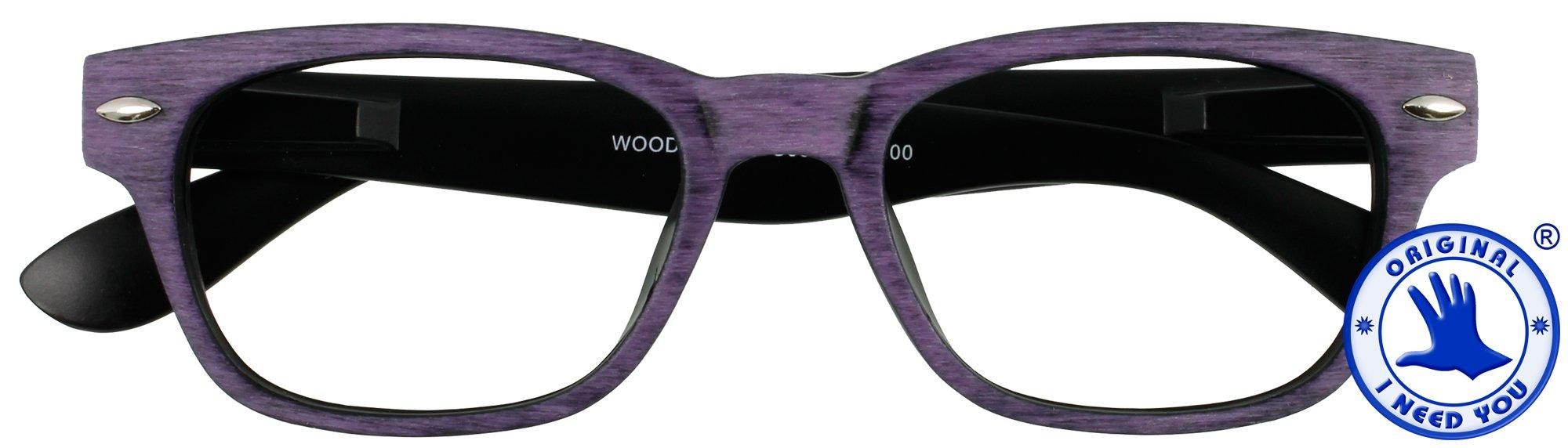 Woody Wood in 4 verschiedenen Farben, Stärke von +1,00 - +3,00 Dioptrien-braun-+ 1,50